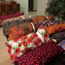 Dialysis Arm Pillows-Arbor Lakes Senior Living-beautiful patterned pillows